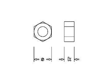 Sechskantmutter mit Kragen, Stahl, M 1,4 - K 1,7mm - S 2,0mm