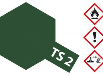 Tamiya Acryl Sprühfarbe TS-2 Dunkelgrün matt