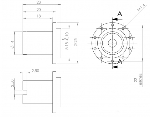 HA-Nabe für Felge FE14012 und FE16005