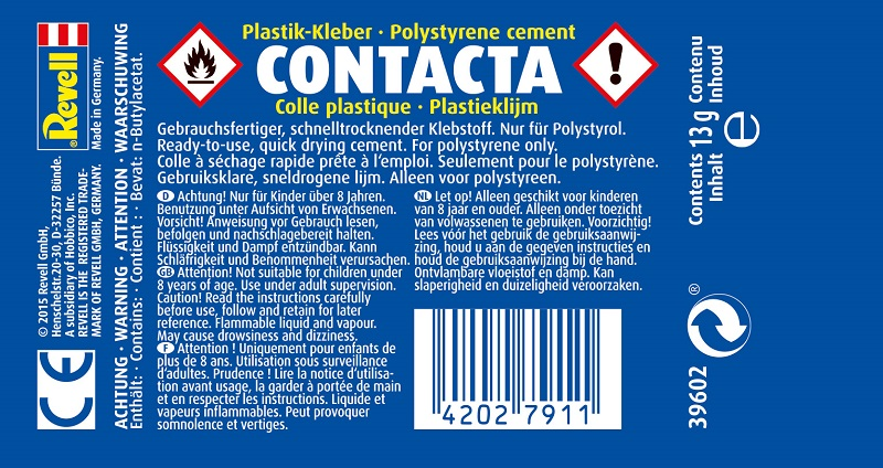 Revell 39602 Plastikleim Contacta, Tubenleim 13g