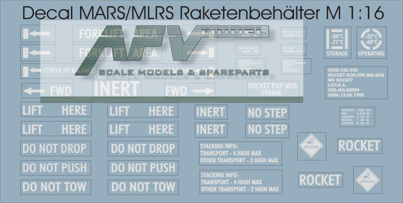 Decalsatz MARS/MLRS Raketenbehälter